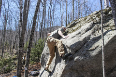 Rock Climbing Photo: Making the tricky move on pure friction to the fin...