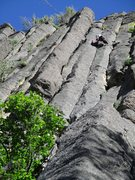 Rock Climbing Photo: The two pitches of MX can be linked into one 210 f...