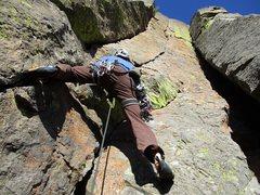 Rock Climbing Photo: John starting up Orange Sunshine.
