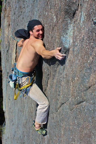 """Chandler rocking the """"Doug Taylor"""" at the P2 crux."""