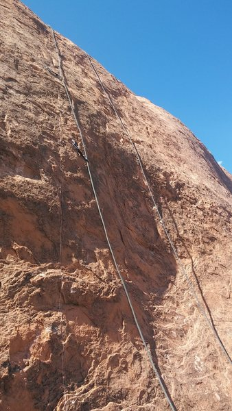 Showing bolts and features.  One more bolt about 20 feet higher on easier rock.