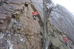 Rock Climbing Photo: First few feet of the climb. Good protection is ha...