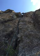 Rock Climbing Photo: Sam stems near the top out
