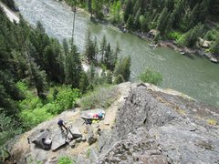 Rock Climbing Photo: Belaying at Castle Rock, Wenatchee River and HWY 2...