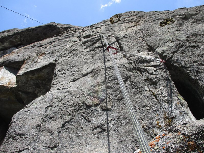Rock Climbing Photo: The crux section of Crack of Doom.