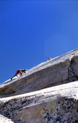 """Rock Climbing Photo: Following Dave Caunt above the roof on """"Dinos..."""