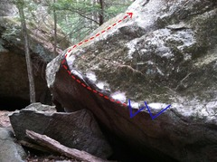 Rock Climbing Photo: The start holds and line of travel.