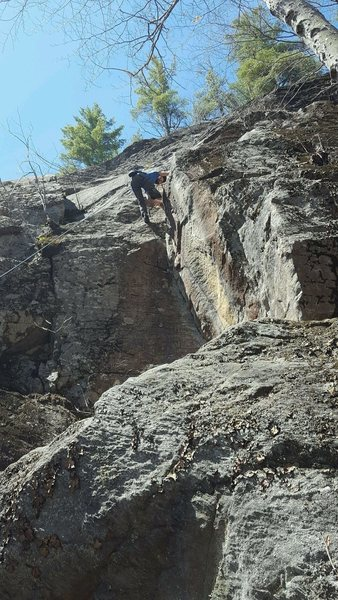 Rock Climbing Photo: Working out the moves on top rope