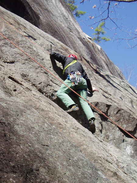 "Rock Climbing Photo: RW ""puzzles out"" the move at the overlap..."