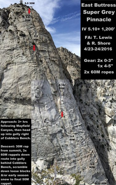 Rock Climbing Photo: Photo topo. First 1.5 pitches are out of view.