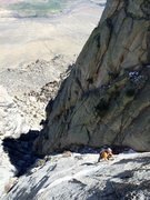Rock Climbing Photo: TL following P2 under sunny skies.