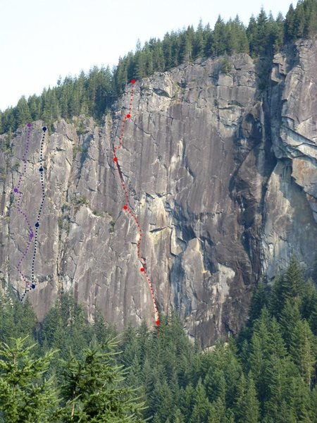 Rock Climbing Photo: Purple - The Crimson Eye, Blue - Heavens Gate, Red...