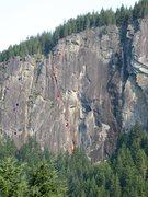 Rock Climbing Photo: Purple - The Crimson Eye, Blue - Heavens Gate, Red...