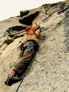 Rock Climbing Photo: TL swinging hammer in the crux, P5.