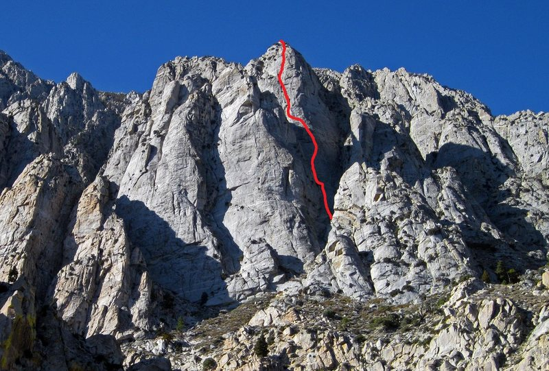 The Cobblers Bench and Super Grey Pinnacle with route marked in red.
