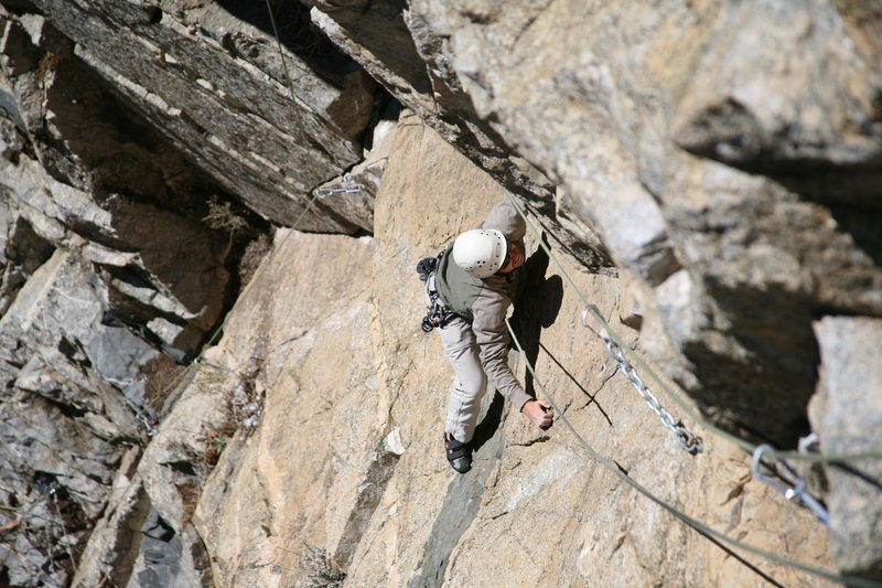 Rock Climbing Photo: Working the slab on Ravens Roost