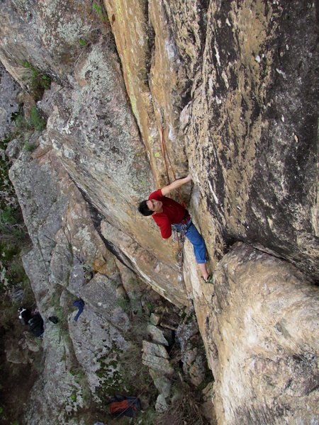 Rock Climbing Photo: Toby about to enter the pumpy 5.12 terrain.