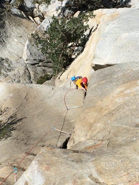 Rock Climbing Photo: Bill Dabbert following the direct start to the Bat...