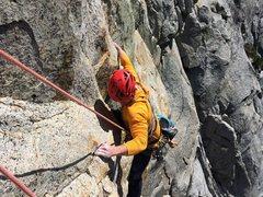 Rock Climbing Photo: Bill Dabbert preparing to mantle on pitch 1