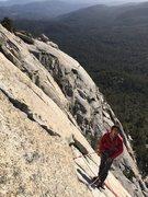 Rock Climbing Photo: Sending stoke at the P4 belay. Photo by Bill Dabbe...