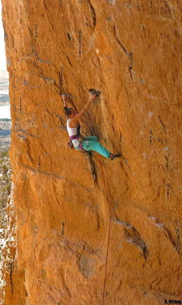 Rock Climbing Photo: Natalie follows the left trending edges of  Mornin...