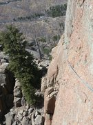 Rock Climbing Photo: The airy unprotected traverse on P2. I am at the s...