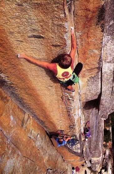 "Dave Schultz on the ""Meat Grinder Arete"" (5.13b), Yosemite Valley<br> <br> Photo by Peter Takeda"