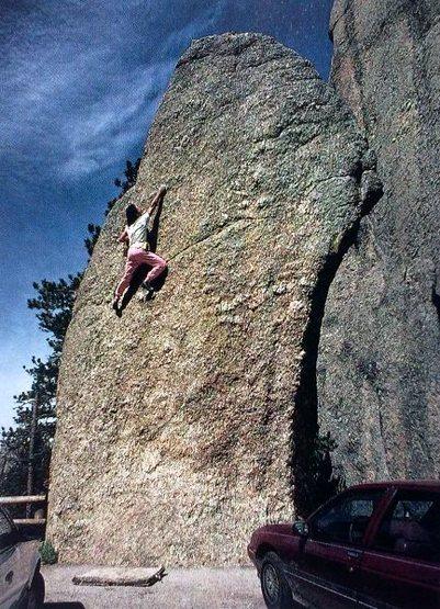 Rock Climbing Photo: John Sherman repeats the Gill Route, The Thimble. ...
