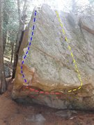 "Rock Climbing Photo: Red line shows the start of ""The Master Theor..."