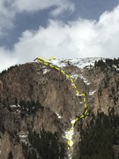 Rock Climbing Photo: Approximate line of Origami up the SW face of Mt. ...