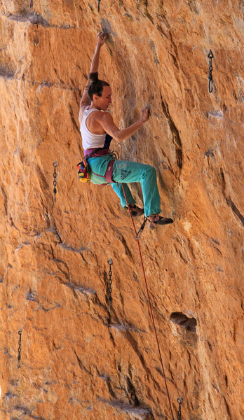 Natalie approaches the crux<br> Nate Dog (5.13a)