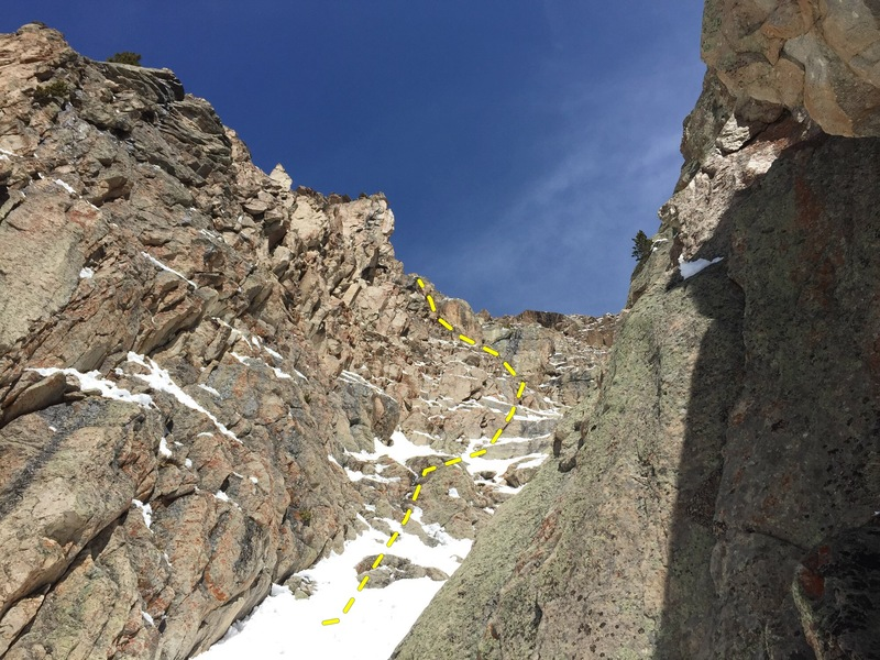 Looking up from the top belay of the 2nd pitch that traverses climber's left of the central rib. Move up snow and rock steps to a larger, steeper choke. Climb up left on flakes and choss before the choke to the ridge top, 150', 5.6/5.7?