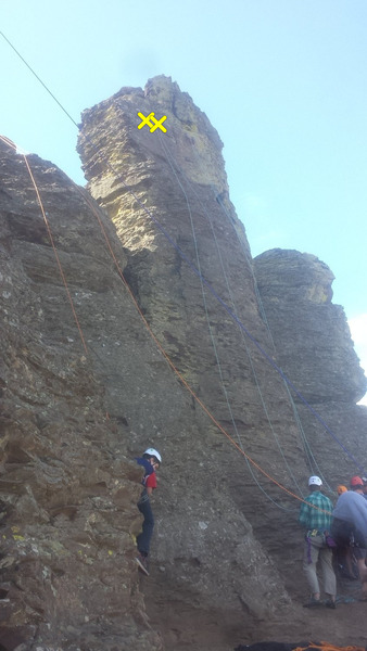 Rock Climbing Photo: Ruffled feathers is the left one of the green rope...