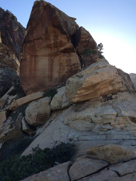 Rock Climbing Photo: 4 - Go to the left of the slanted boulder.  There ...