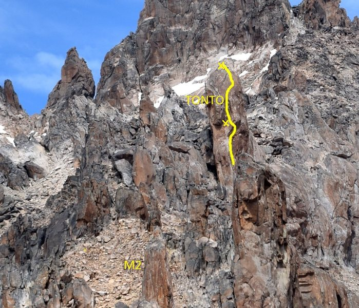 "Looking at Tonto from the Refugio, the line is Lobo Blanco with anchor locations shown. The bulge right on P1 is roughly the ""que me aguante el prusik"" 6b+ variation, which we climbed"