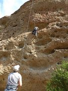 """Rock Climbing Photo: A bit off route to the right on """"Christmas Pu..."""