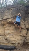 Rock Climbing Photo: Grabbing onto the first handhold after the initial...