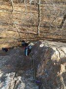 Pitch 1's engaging corner climbing.