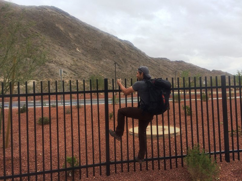Rock Climbing Photo: Just one of the many fences when approaching from ...