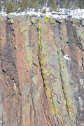 Rock Climbing Photo: topo Pitch 2 detail, with rap location