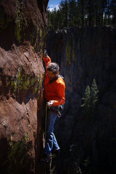 Edge of an Age, 12b, Volunteer Canyon. <br> Beautiful canary cracks in background. <br> Wade Forrest photo