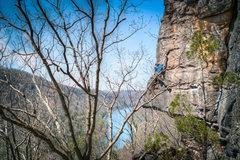 Rock Climbing Photo: John getting frisky with the rock