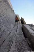 Marc on the nice crack in the chimney's pitches - Half Dome NW Regular