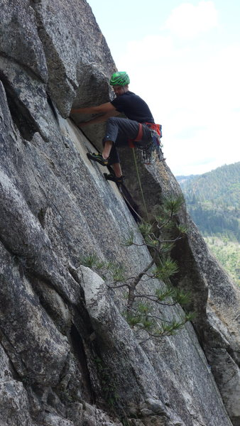 "Rock Climbing Photo: Pitch 1 as seem from the gully. Notice the ""R..."