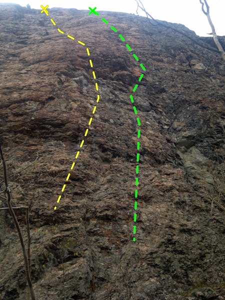 Rock Climbing Photo: False Expectations (Yellow/left) and Chemical Depe...