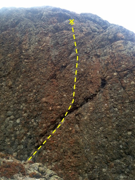 Rock Climbing Photo: The flaring crack/lip on Untitled 1.