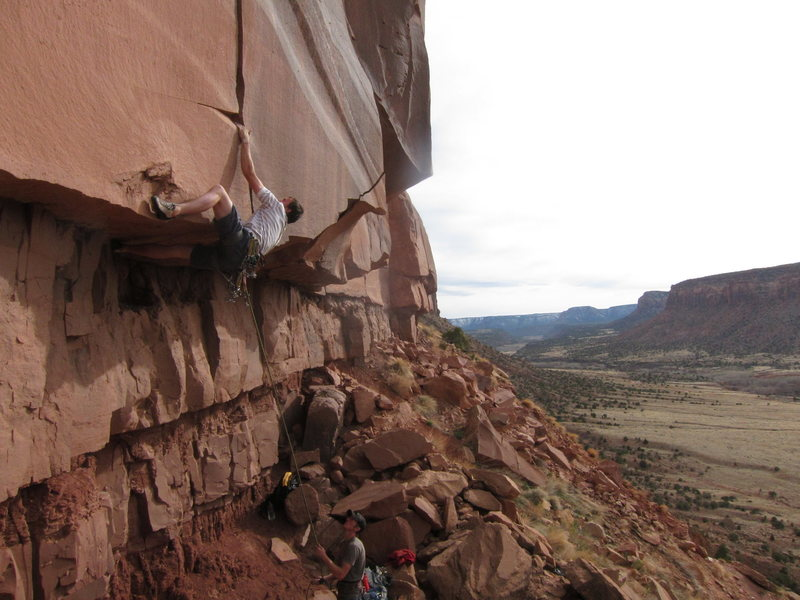 "Rock Climbing Photo: Making the move at the lip of the roof, on ""S..."