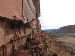 """Rock Climbing Photo: Making the move at the lip of the roof, on """"S..."""