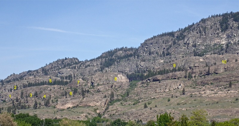 Rock Climbing Photo: Lower SW Face of Hull overview viewed from Hwy 97 ...