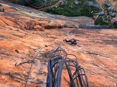 Rock Climbing Photo: Steph following the first pitch of The Richness of...